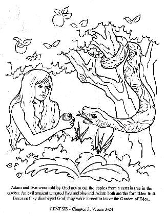 """Adam and Eve were told by God not to eat apples from a certain tree in the garden. An evil serpent tempted Eve and she and Adam both ate the forbidden fruit. Because they disobeyed God, they were forced to leave the Garden of Eden."""